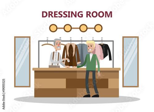 Leaving clothes at cloakroom. Fototapeta