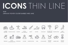 WAR Thin Line Icons