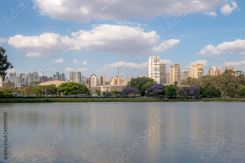 Ibirapuera Park Lake and city skyline - Sao Paulo, Brazil