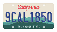 License Plate Isolated On White Background. California License Plate With Numbers And Letters. Badge For T-shirt Graphic