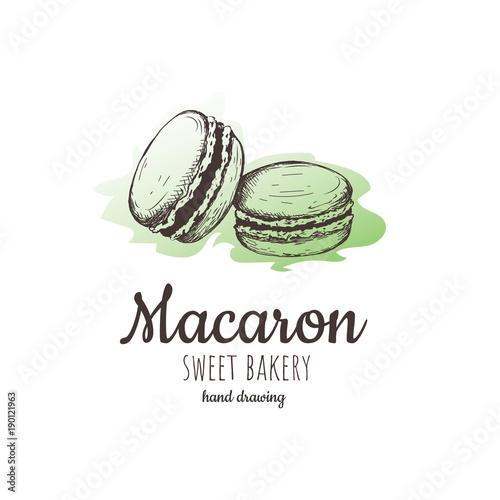 macaron, macaroon almond cakes, macaron sketch.