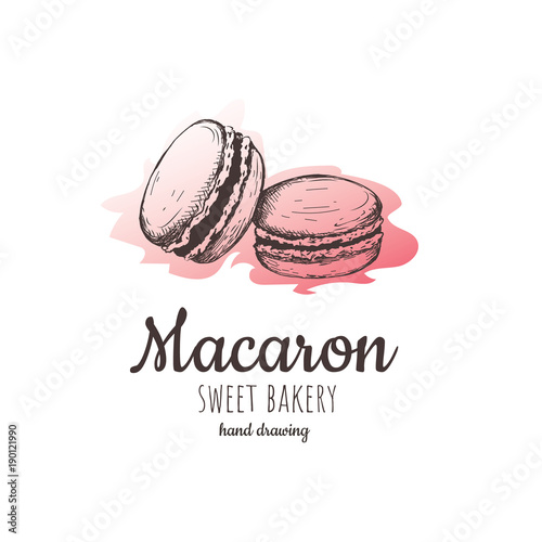 Aluminium Prints Macarons macaron, macaroon almond cakes, macaron sketch