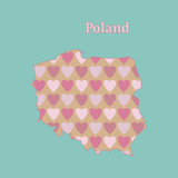 Outline map of Poland with a texture of pink and red hearts. Isolated vector illustration on  blue background. - 190123514