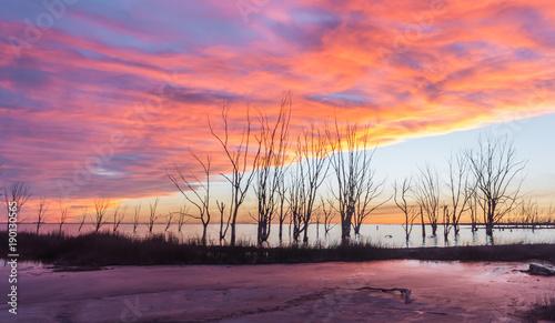 Foto op Canvas Koraal Atardecer en el lago