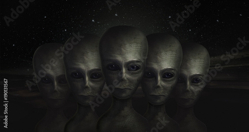 Photo alien, 3d illustration, UFO, zone 51