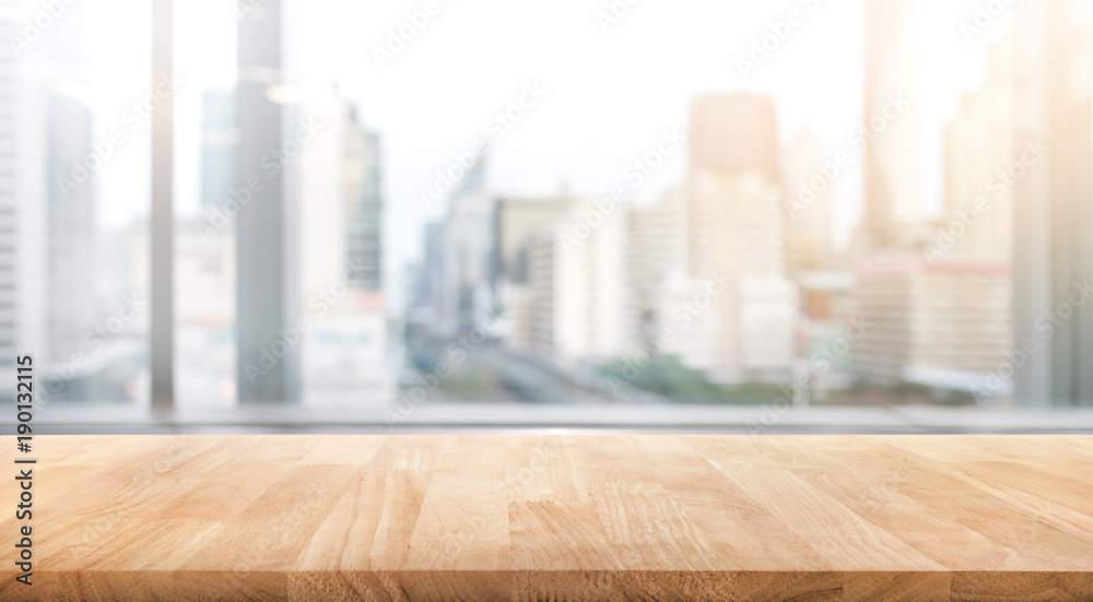 Fototapety, obrazy: Empty wood table with blur room office and window city view background.For montage product display or design key visual
