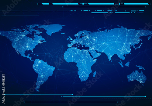 Low poly image of world map with lights, communication. Wireframe concept of the world network, virtual interface.