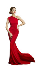Lady Evening Dress, Elegant Woman In Long Gown With Tail, Fashion Model Isolated On White, Beautiful Well Dressed Girl
