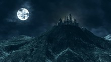 Scary Looking Haunted Castle On A Hill With Full Moon And Lightning In The Background