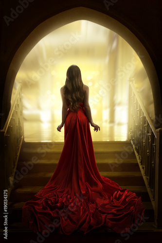 Elegant Woman Silhouette in Long Red Gown, Lady Back Rear View, Fashion Model Dr Fototapete