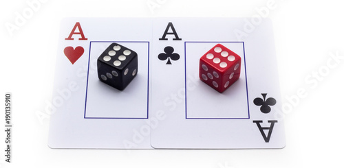 Two aces and dice on a white background плакат