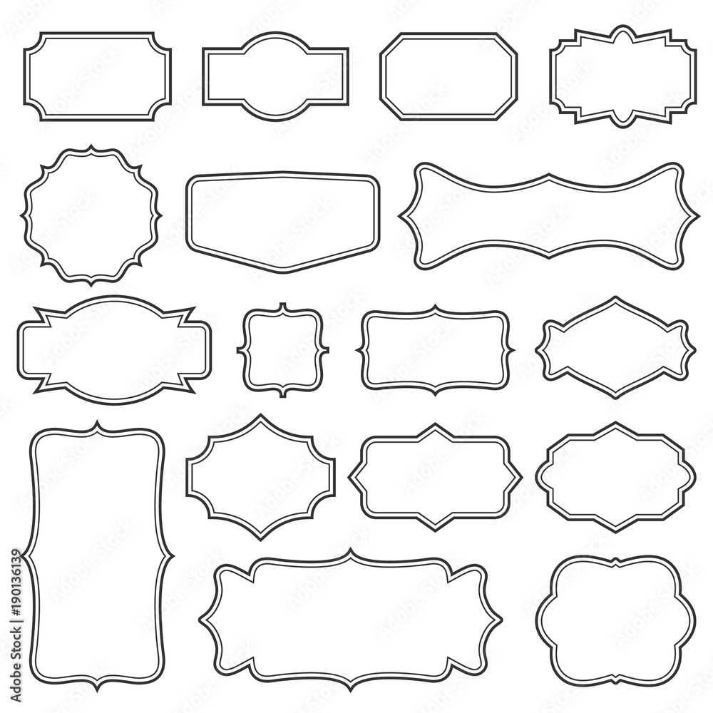 Fototapety, obrazy: Creative vector illustration set of decorative vintage frames isolated on transparent background. Art design border labels. Blank frames template. Abstract concept graphic retro element