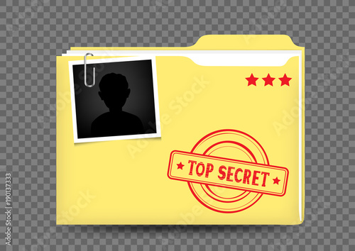 top secret folder on transparent Canvas Print