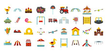 Kid Amusement Icon Set, Flat S...