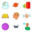 Brilliant thought icons set, cartoon style