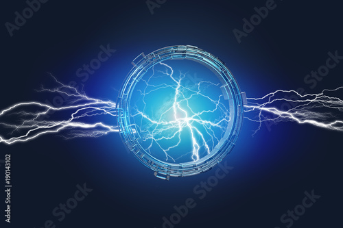 Thunder lighting bolt in a science fiction wheel interface - 3d render Canvas-taulu