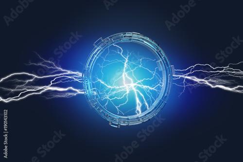 Valokuva  Thunder lighting bolt in a science fiction wheel interface - 3d render