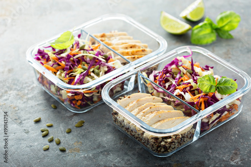 Poster Kruidenierswinkel Healthy meal prep containers with quinoa and chicken