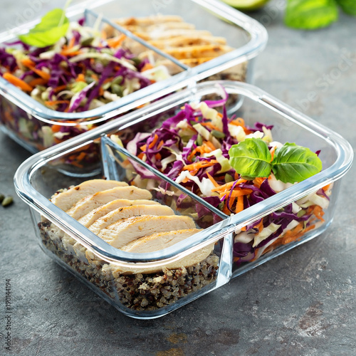 healthy meal prep containers with quinoa and chicken buy this stock photo and explore similar. Black Bedroom Furniture Sets. Home Design Ideas