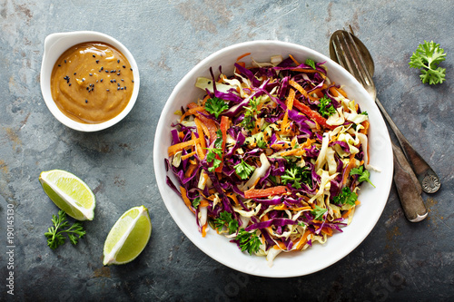 Fotografie, Obraz  Asian cole slaw with peanut butter dressing