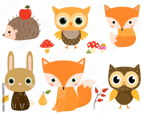 Fotografie, Obraz  Cute vector set with woodland animals in flat style for children designs and gre