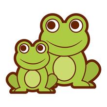 Frogs Cute Animal Sitting Cart...