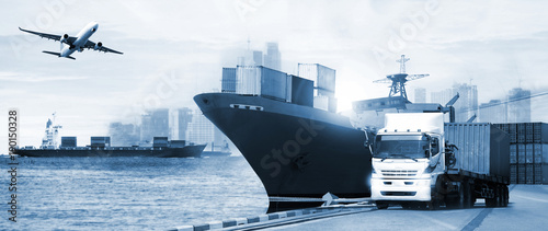 Cuadros en Lienzo  Transportation, import-export and logistics concept, container truck, ship in po