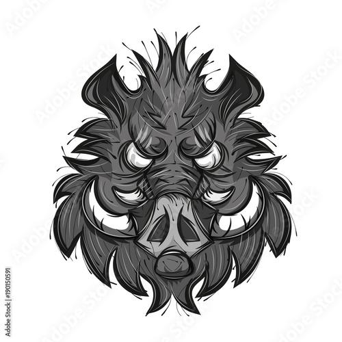 Fotomural boar head sketch vector illustration
