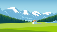 Mountain Landscape With Pine Forest And Green Meadow On Which Stands A Small House. Alpine Meadow Vector Illustration