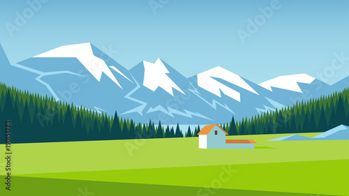 Deurstickers Lime groen Mountain landscape with pine forest and green meadow on which stands a small house. Alpine meadow vector illustration