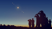 People Are Watching A Solar Eclipse In The Sky With Stars.