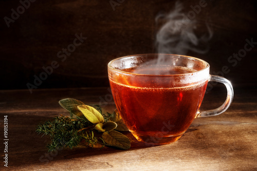 Photo sur Toile The tea freshly brewed in a glass cup and some herbs on a dark rustic wooden background, healthy hot drink against cold and flu, copy space