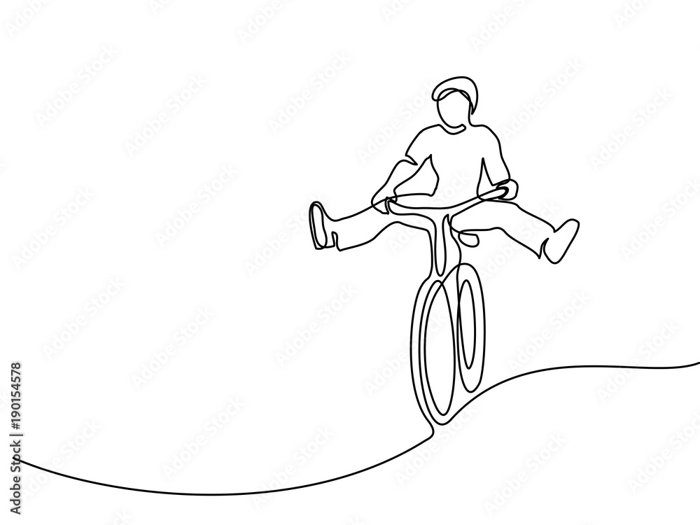 Fototapeta Continuous line drawing. Man on a bicycle have fun. Drawn by hand. Icon, vector illustration, picture, tattoo