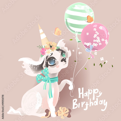 Cute Baby Dog Puppy Adorable Little Girl Princess In Birthday Hat With Balloons Flowers Bone Butterflies And Tied Bow Happy Lettering