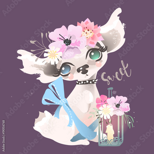 Poster Floral woman Cute baby dog, puppy with whimsical lantern. Adorable little girl princess dog with flowers, floral wreath and tied bow. Sweet lettering, phrase