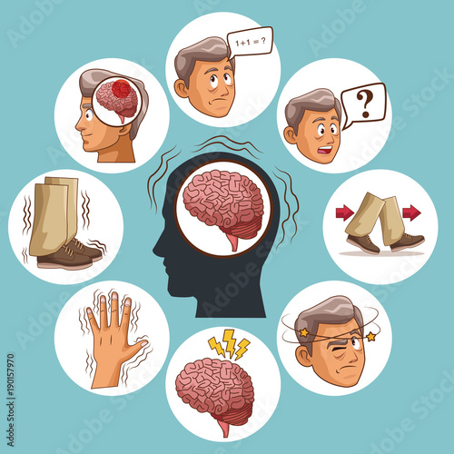 Fotografie, Obraz  Parkinsons disease cartoon icon vector illustration graphic design