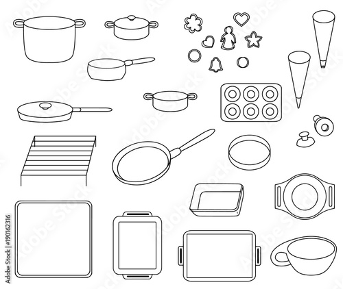 Set icons of different kinds of cookware vector illustration sketch Canvas-taulu