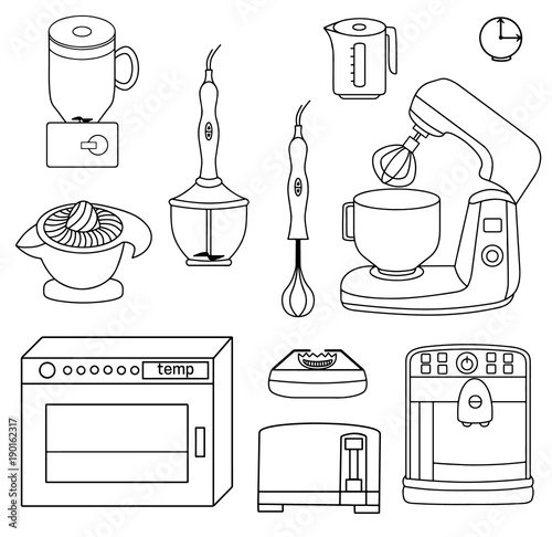 Set Icons Of Different Kinds Of Kitchen Appliances Vector