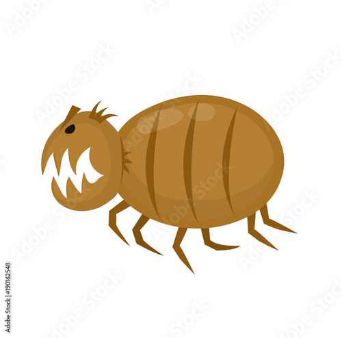 Foto  Funny angry flea. Pets parasite. Vector flat