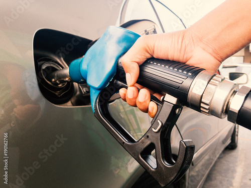 Hand holding gasoline nozzle Poster Mural XXL