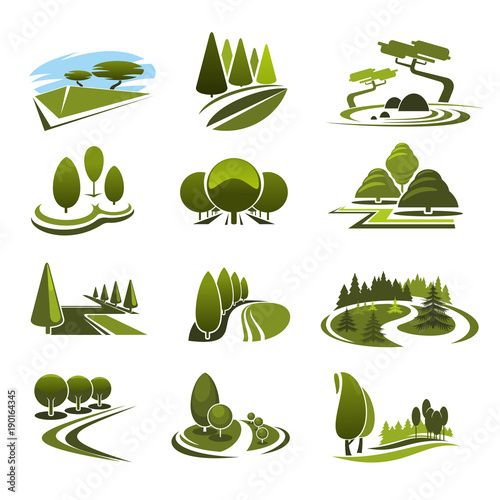 Fotobehang Wit Vector icons for green landscape eco design