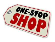 One-Stop Shop Price Tag Product Store Advertisement 3d Illustration