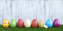 Colorful Easter Eggs On Grass ...