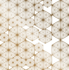 FototapetaJapanese pattern vector. Gold oriental geometric background.