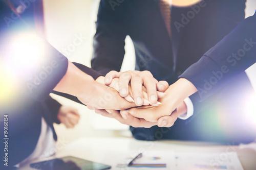 Business teamwork join hands together Wallpaper Mural