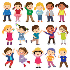Fototapeta Happy kids cartoon collection. Multicultural children in different positions isolated on white background