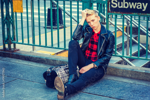 Young Blonde American Man Traveling In New York Wearing