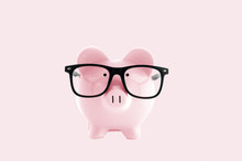 Piggy Bank In In Glasses  On P...