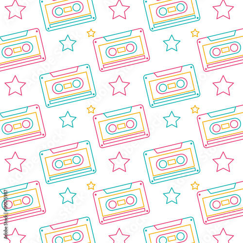 seamless-pattern-retro-cassette-tape-recorder-vector-illustration