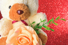 Teddy Bear With Flowers In Val...
